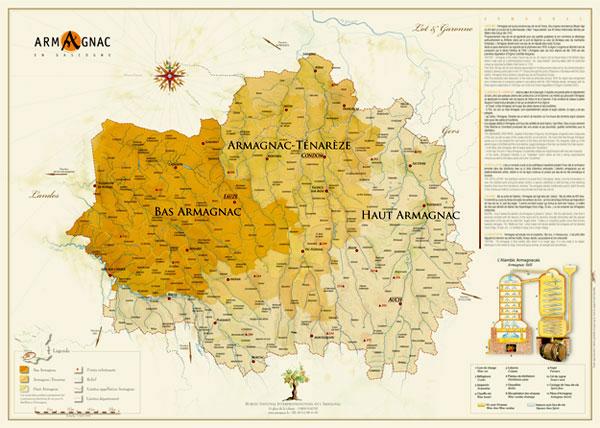 Carte des régions de l'armaganac